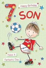 Happy Birthday Son Age 7 ~  Luxury 7th Birthday Card - Playing Football