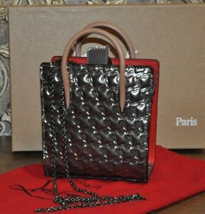 Authentic New Christian Louboutin Paloma Nano Silver Metallic Leather Tote Bag