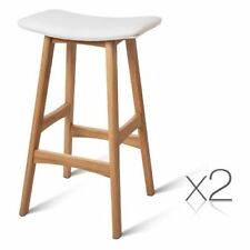 4x Oak Wood Bar Stools Wooden Barstool Dining Chairs Kitchen Plywood White 3629