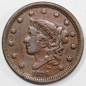 1838 1c Coronet or Matron Head Large Cent