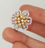 ESTATE 18K YELLOW WHITE GOLD NATURAL ROUND DIAMOND FLOWER CLUSTER COCKTAIL RING