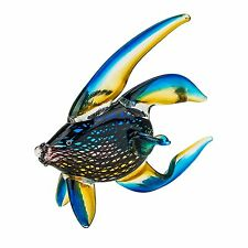 "6"" Handmade Art Blown Glass Collectible Miniature Gold Fish Figurine"