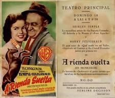 Programa PUBLICITARIO de CINE: A Rienda Suelta. Shirley TEMPLE, Barry FITZGERALD