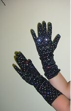 Black with Sequins Fancy Dress/Disco/Ball/Christmas  Long Length Gloves (HW163)