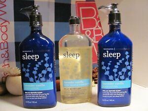 Bath and Body Works 3 Aromatherapy ~SLEEP~ Lavender & Vanilla Wash & Lotion NEW