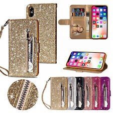 Card Wallet Case for iPhone 6S X XS Bling Glitter PU Leather Zipper Stand Cover