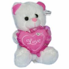 "Valentine's 8"" Teddy Bear Plush Stuffed Animal Love Heart White Pink Oso D Felpa"