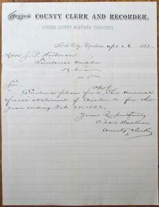 Miles City, MT 1882 Letterhead: Custer County Clerk & Recorder-Montana Territory