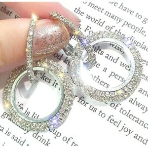 Sparkling Rhinestone Trendy Round Gold Silver Crystal Bling Diamante Earrings UK