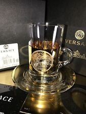 VERSACE MEDUSA GOLD TEA GLASS SAUCER MADNESS ROSENTHAL NEW BEST PRICES SALE NOW
