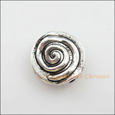 6Pcs Tibetan Silver Tone Rotating Round Flat Spacer Beads Charms 12mm