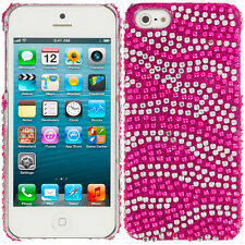 Hot Pink Silver Zebra Rhinestone Bling Case Hard Cover for iPhone 5 5S 5th