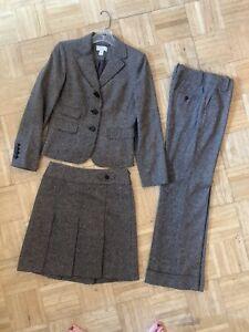 Loft Petite 3 Piece Suit BlK/Gray Wool (Skirt 0P, Marisa Pants 00P, Jacket 2P)
