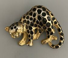Vintage Gold Tone Enameled Leopard Brooch Pin  with Rhinestone Eyes