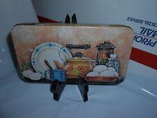 Vtg The Tin Box Company Of America Decorative Kitchen Scene Hinged Storage Tin