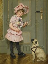 CANVAS PRINT PUG DOG OBEDIENCE LESSON GIRL CHILD ROSES PINK FROCK VICTORIAN ART