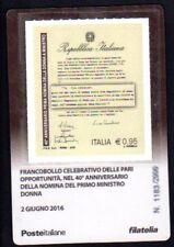 Italia 2016 - Primo Ministro Donna - tessera filatelica a tiratura limitata