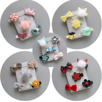 5Pcs Kid Infant Hairpin Baby Girl Bow Flower Barrettes Fabric Star Hair Clip Set