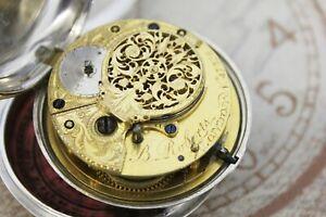 Historische Spindel Taschenuhr verge pair case pocket watch b. Roberts LONDON