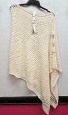 CHICOS One Size 1 2 3  Ivory Cream Loose Knit Cut OUt Arm Pullover Poncho Top