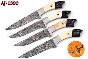 FOUR DAMASCUS STEEL STEAK CHEF KNIVES WITH BONE & WOOD HANDLE AJ - 1390