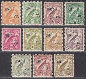New Guinea 1932 KGV Bird Paradise Airmail Overprint Part Set to 5sh Mint