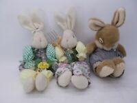 Lot of 3 Plush Rabbits Bunnies Decorative Easter