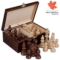 Staunton No 6 Tournament Chess Pieces in Wooden Box 3 9-Inch King