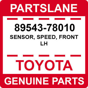 89543-78010 Toyota OEM Genuine SENSOR, SPEED, FRONT LH