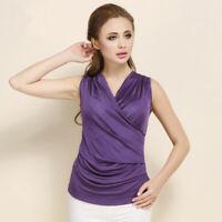 100% Silk Knit Women's Sleeveless Overlapping V Neck Vest Top Blouse