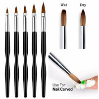 5pcs Sable Kolinsky Acrylic Nail Art UV Gel Carving Brush Glitter Pen Set Tools
