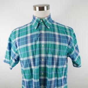 Brooks Brothers Mens Madison SS Button Down Teal Green Plaid Dress Shirt Medium