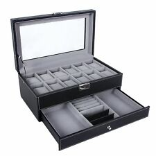 Watch Box Jewelry Case Organizer Large 12 Black Leather Display Glass Top Men