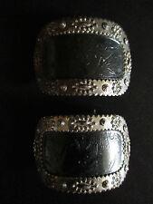 ancienne boucles de chaussure à système de fixation acier anglais milieu XIX ème