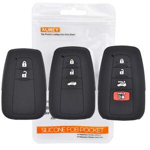 Silicone Key Cover Remote Case For Toyota Camry C-HR Corolla RAV4 Prado Prius