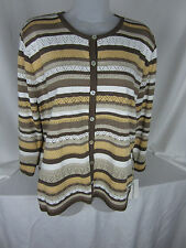 Alfred Dunner Sweater & Cami Medium  Cardigan Perforated Knit All Acrylic
