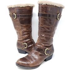 Born Womens Randi Riding Boots Brown Leather Sherpa Lined Cowgirl Distressed 8.5