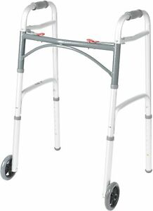 """Drive Medical 10200-4ASM Deluxe Two Button Folding Adjustible Walker (5"""" Wheels)"""