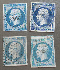 1852 France 20c Luis Napoleon Stamps 4 colors #15 Used
