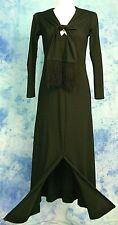 New listing ViNtage 70s Black PlungiNg Ascot TiE Neck FriNge Leg SliT DiScO Maxi Dress Gown