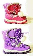 Kids Girls Winter Warm Pink Purple Waterproof Fur Lined Snow Boots Size 3 to 10