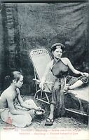 Tonkin Haiphong Chinese lady smoking a pipe postcard antique printed