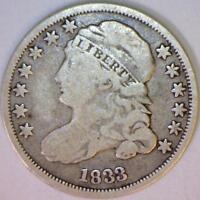 1833 Capped Bust Dime; JR-9 Variety; Nice Original F/VG