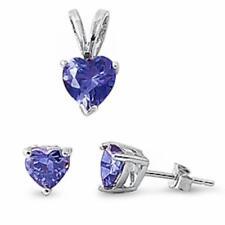 Tanzanite Heart Pendant & Earrings Set .925 Sterling Silver