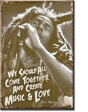 """Bob Marley Come Together and Create Music & Love 2"""" X 3"""" Miniature Sign Magnet"""