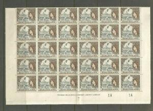 BASUTOLAND QE2 SG43  1/2D GREY BLACK SEPIA   FULL SHEET OF 60  UNMOUNTED MINT