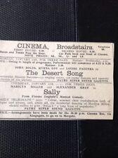 62-9 Ephemera 1931 Broadstairs Cinema The Desert Song Sally Ziegfield