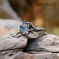 Women Elegance Luxury Moonstone Rose Branch Ring Sz 6-11 Jewelry