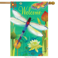 """Dragonfly Dream Spring House Flag Welcome Butterflies Floral 28"""" x 40"""""""