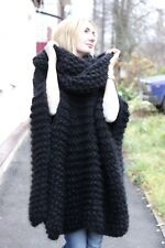 M-XXXL  Premium Mohair Poncho whith neck Hoodie hand knit Black